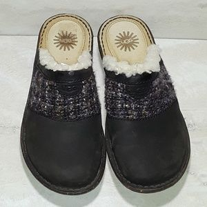 Ugg Opaline black knit tweed mules size 8